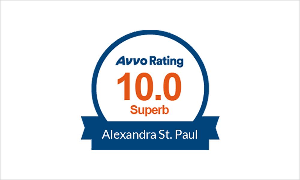 Avvo Rating 10.0 Superb, Alexandra St. Paul