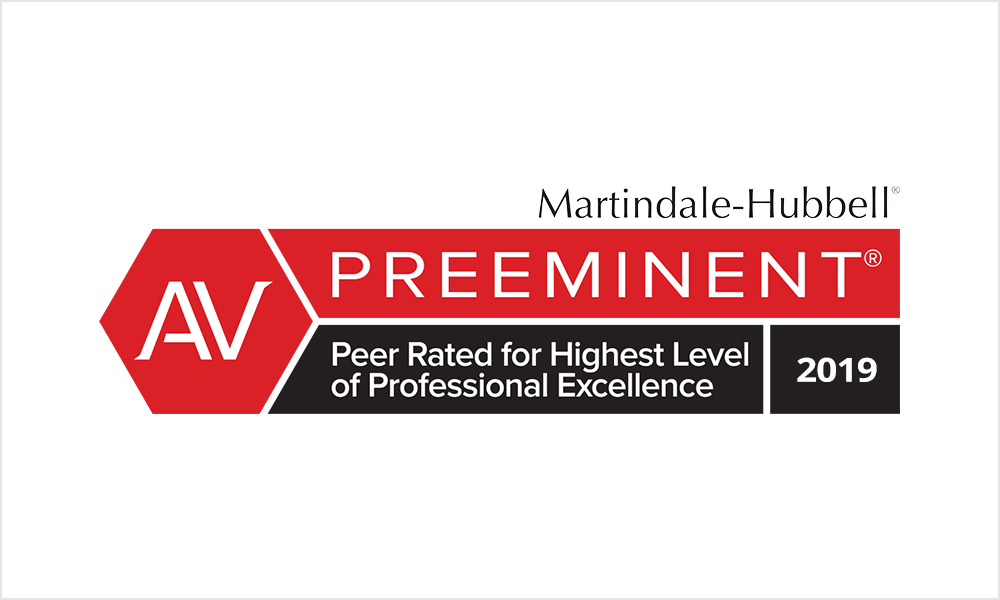 Marindale-Hubbell Preeminent - Peer Rated for Highest Level of Professional Excellence 2019