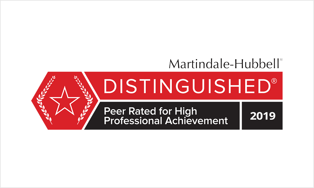Marindale-Hubbell Distinguished - Peer Rated for High Professional Achievement 2019